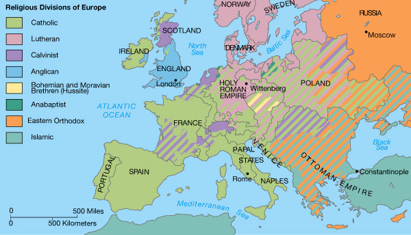 Religious Divisions of Europe - 1555 AD